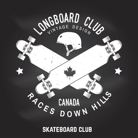 Longboard club sign on the chalkboard. Vector illustration.