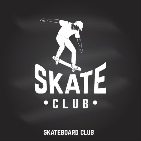 Skate club sign on the chalkboard. Vector illustration.