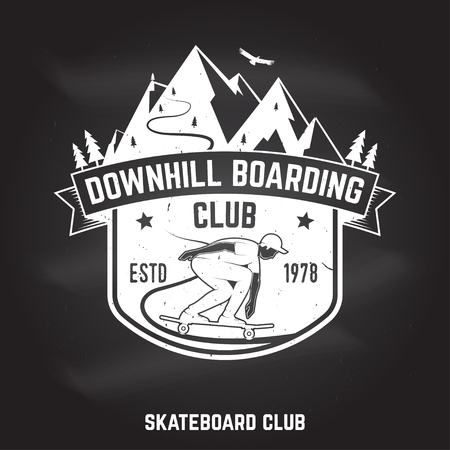 Downhill boarding club sign on the chalkboard. Vector illustration.