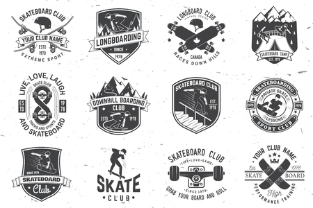 Set of Skateboard and longboard club badges. Vector illustration Ilustracja