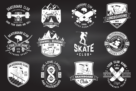 Set of Skateboard and longboard club badges. Vector illustration Ilustração