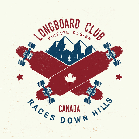Longboard club badge. Vector illustration. Extreme sport. 일러스트