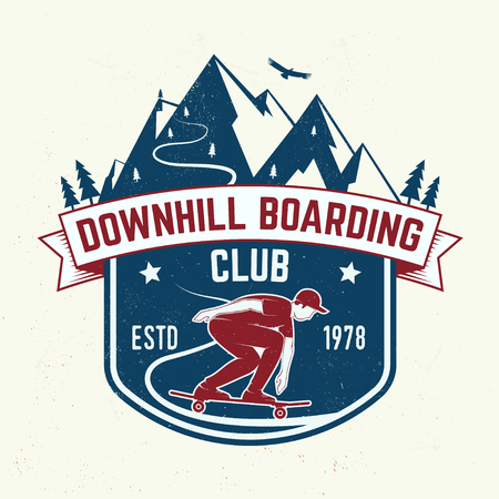 Downhill boarding club badge. Vector illustration