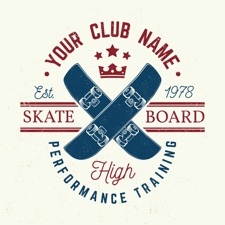 Skateboard club badge. Vector illustration.