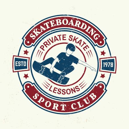 Skateboarding sport club badge. Vector illustration. 일러스트