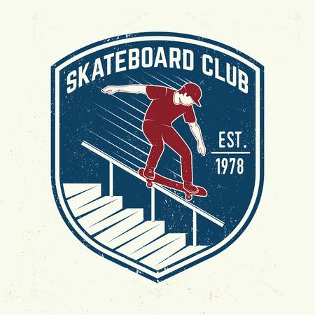 Skateboarding club badge. Vector illustration.