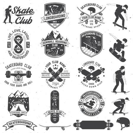 Ensemble d'insignes de club de planche à roulettes et de longboard. Illustration vectorielle