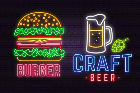 Retro neon burger and craft beer sign on brick wall background. Design for cafe, hotel,restaurant or motel.  イラスト・ベクター素材
