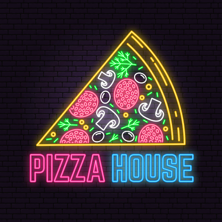 Retro neon pizza house sign on brick wall background. Design for sign or label.  イラスト・ベクター素材