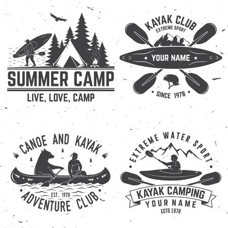 Conjunto de insignias del club de kayak. Ilustración vectorial.