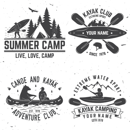 Set of kayak club badges. Vector illustration.