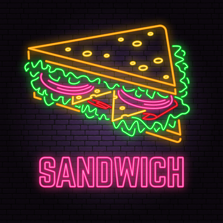 Retro neon sandwich sign on brick wall background. Design for cafe, hotel, restaurant or motel.