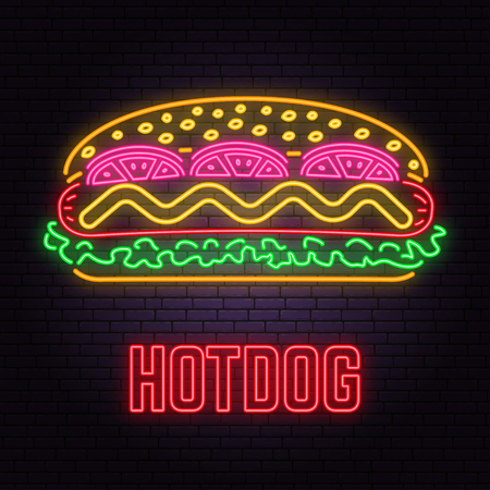 Retro neon hot dog sign on brick wall background. Design for cafe, hotel, restaurant or motel. 写真素材