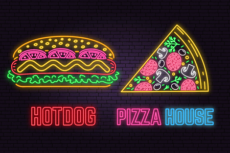Retro neon hot dog and pizza sign on brick wall background. Design for cafe, restaurant.