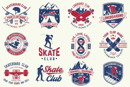 Set of Skateboard and longboard club badges. Vector illustration Stok Fotoğraf