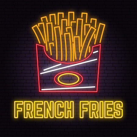 Retro neon french fries sign on brick wall background. Design for cafe, hotel, restaurant or motel.