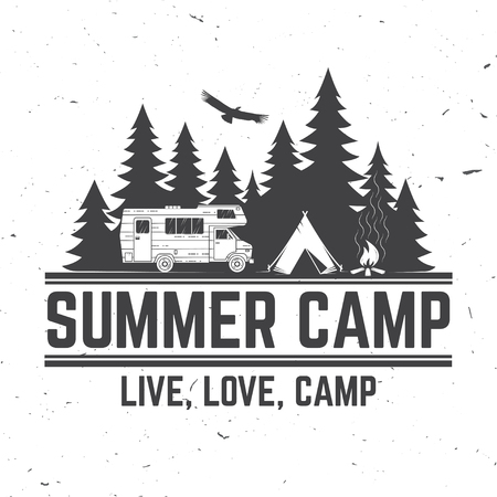 Summer camp. Vector illustration. Concept for shirt or logo, print, stamp or tee. Stock Photo