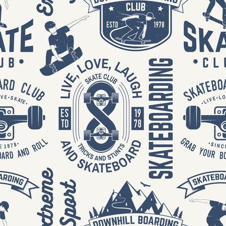 Skateboard and longboard club seamless pattern or background. Vector illustration