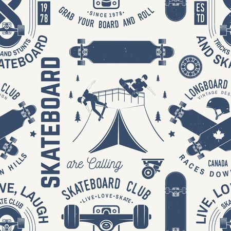 Modèle sans couture de skateboard et de longboard club ou arrière-plan. Illustration vectorielle