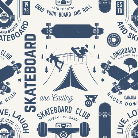 Skateboard en longboard club naadloze patroon of achtergrond. Vector illustratie