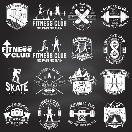 Set of fitness and skate board club concept with girls doing exercise and skateboarder silhouette on the chalkboard. Vector Illustration