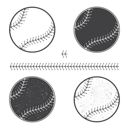 Set of baseball icon and seam. Vector illustration. Baseball seam brushes. Illustration