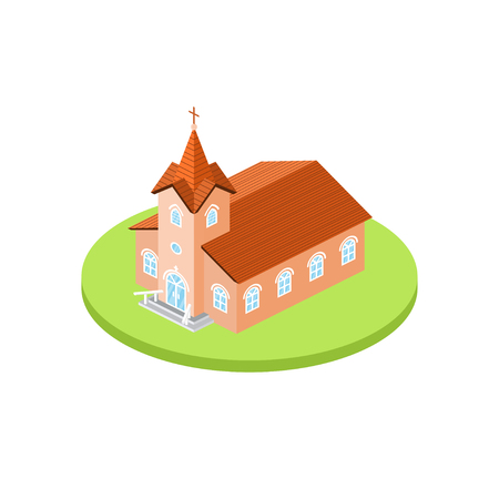 Isometric church icon. For web design and application interface, also useful for infographics.