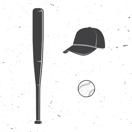 Set of baseball cap, ball, bat silhouette for emblems ,logo and labels. Vector illustration. Concept for shirt or logo, print, stamp or tee.