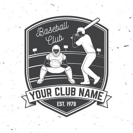 Baseball or softball club badge.Vector illustration. Concept for shirt design, print, stamp or tee. Illustration