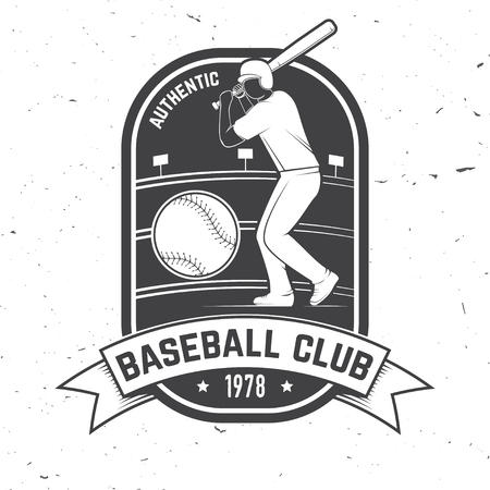 Baseball or softball club badge. Vector illustration. Concept for shirt design, print, stamp or tee. Illustration