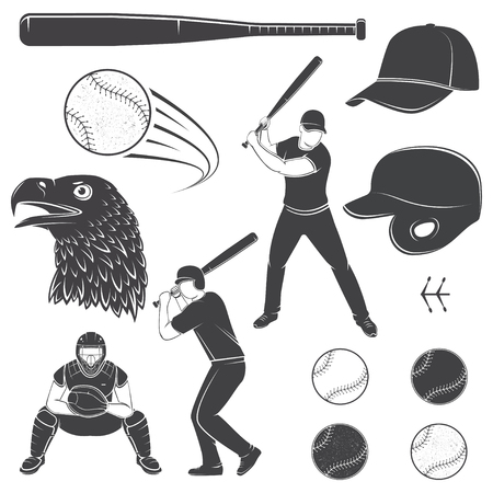 Set of baseball equipment and gear. Vector illustration. Baseball seam brushes. Ball for baseball, batter, catcher, baseball bat, helmet, cap and eagle silhouette. 일러스트