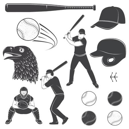 Set of baseball equipment and gear. Vector illustration. Baseball seam brushes. Ball for baseball, batter, catcher, baseball bat, helmet, cap and eagle silhouette. Illustration