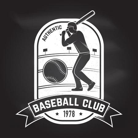 Baseball or softball club badge. Vector illustration. Concept for shirt design, print, stamp or tee. Illustration