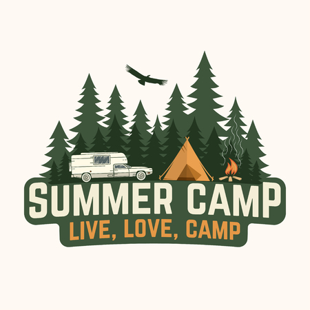 Summer camp. Vector illustration. Concept for shirt design, print, stamp or tee.
