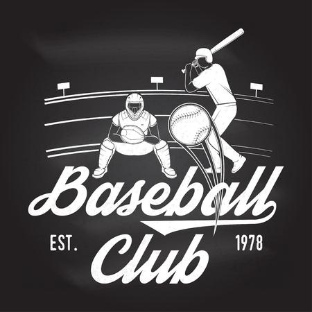Baseball or softball club badge on the chalkboard.