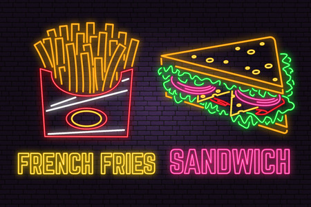 Retro neon sandwich and french fries sign on brick wall background. Design for cafe, restaurant. Vector. Neon design for pub or fast food business. Light sandwich and french fries sign banner.