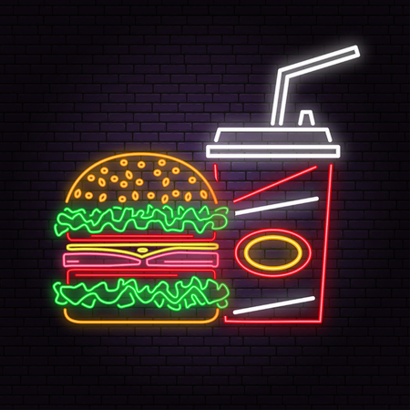 Retro neon burger and cola sign on brick wall background. Design for cafe, restaurant. Vector. Neon design for shop, bar, pub or fast food business. Light burger and cola sign banner Stok Fotoğraf - 111690941