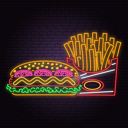 Retro neon hot dog and french fries sign on brick wall background. Design for cafe, restaurant. Vector. Neon design for shop, bar, pub or fast food business. Light hot dog and french fries sign banner  イラスト・ベクター素材