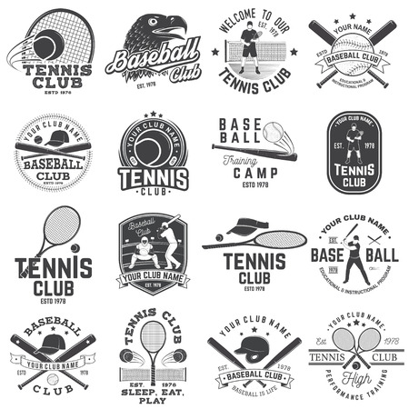 Set of baseball and tennis club badge. Vector illustration. Concept for shirt or logo, print, stamp or tee. Design with baseball bats, catcher, eagle, ball, tennis player and tennis racket silhouette. Ilustração