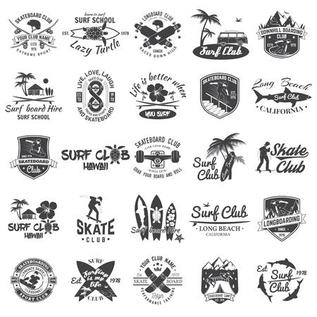 Satz Skateboard-, Longboard- und Surfclub-Abzeichen. Vektor-Illustration. Vektorgrafik