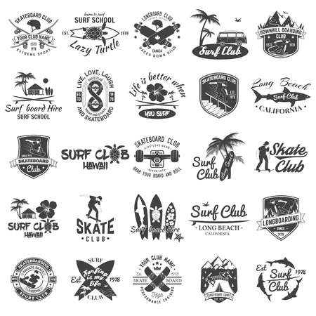 Set of skateboard, longboard and surf club badges. Vector illustration. Иллюстрация