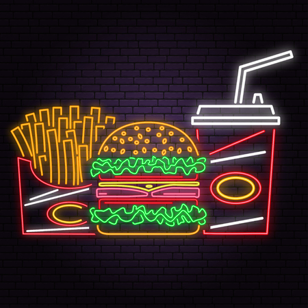 Retro neon burger, cola and french fries sign on brick wall background. Illustration