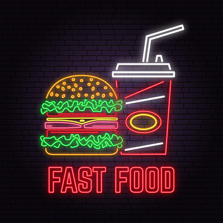 Retro neon burger and cola sign on brick wall background. Design for cafe, restaurant. Vector. Neon design for shop, bar, pub or fast food business. Light burger and cola sign banner