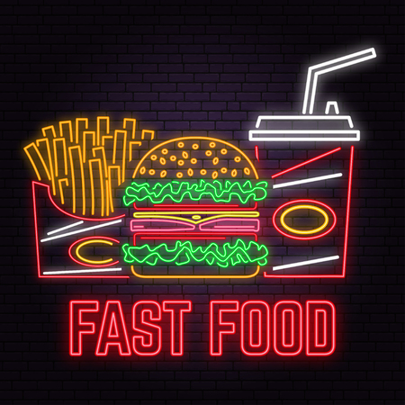 Retro neon burger, cola and french fries sign on brick wall background. Stock Vector - 115983110