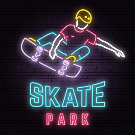Muestra de neón del parque de patinaje sobre fondo de pared de ladrillo. Ilustración vectorial. Ilustración de vector