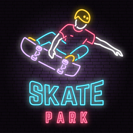 Neon skate park sign on brick wall background. Vector illustration.