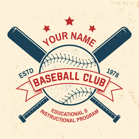 Insigne de club de baseball. Illustration vectorielle. Concept de conception de chemise, d'impression, de timbre ou de tee-shirt.