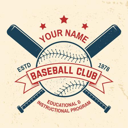 Insignia del club de béisbol. Ilustración de vector. Concepto de diseño de camiseta, estampado, sello o camiseta.