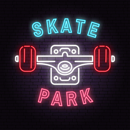 Neon skate park sign on brick wall background. Vector illustration. Neon design for skate park emblems, gym signs related health and gym business. Night bright advertisement with skateboard truck
