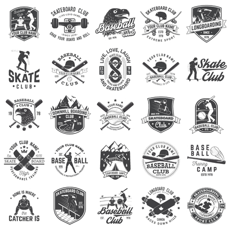 Set of baseball and skateboard club badge. Vector illustration. Concept for shirt or logo, print, stamp or tee. Design with baseball bats, catcher, eagle, ball, skateboarder and skateboard silhouette.